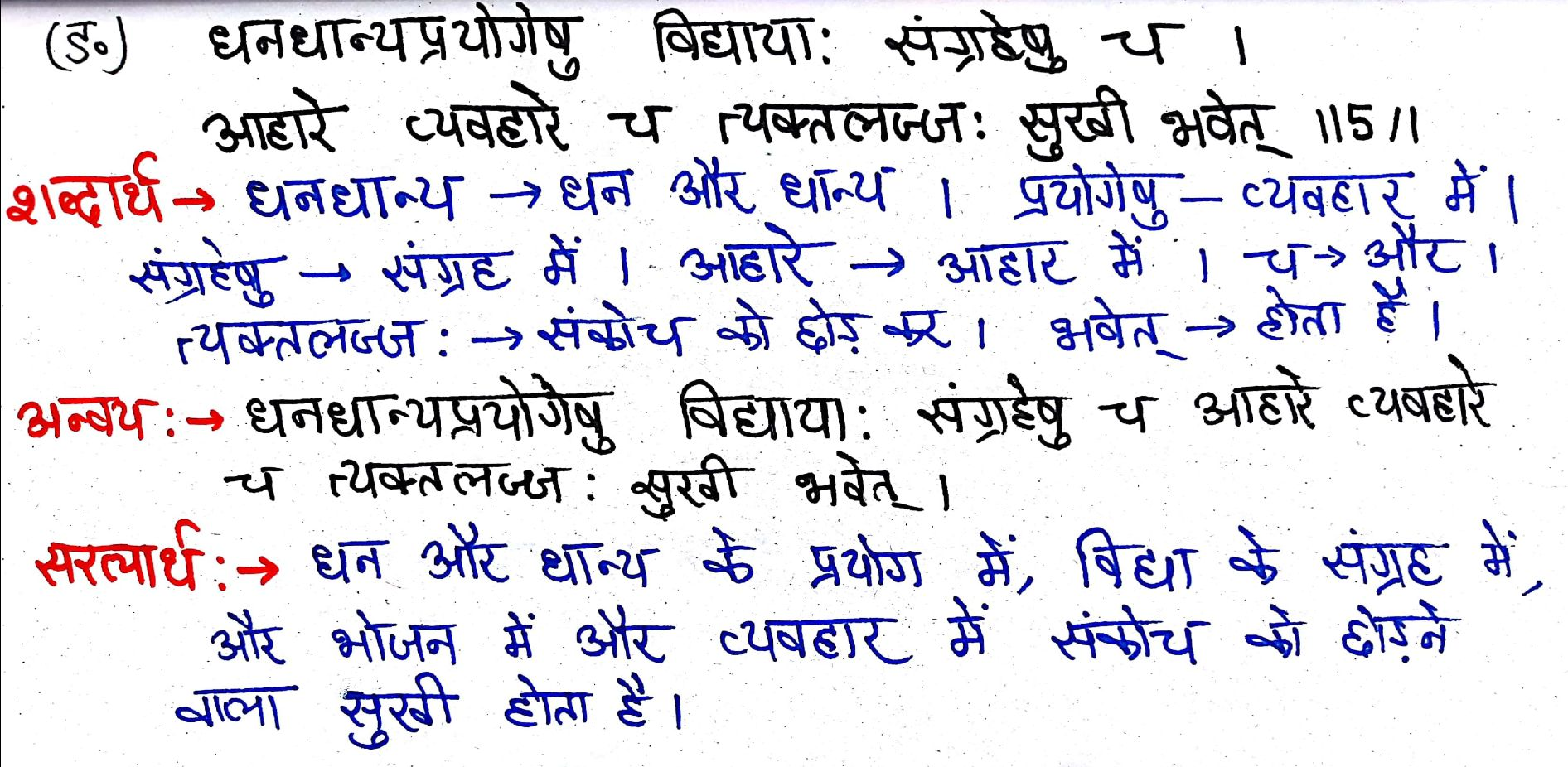 Class 7th Sanskrit Chapter 1 – सुभाषितानी hindi translation