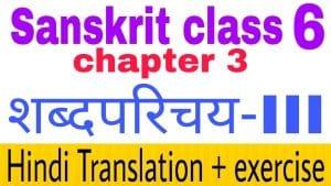 Class 6 Sanskrit chapter 3 - NCERT Exercise solution,Hindi translation,Videos,etc