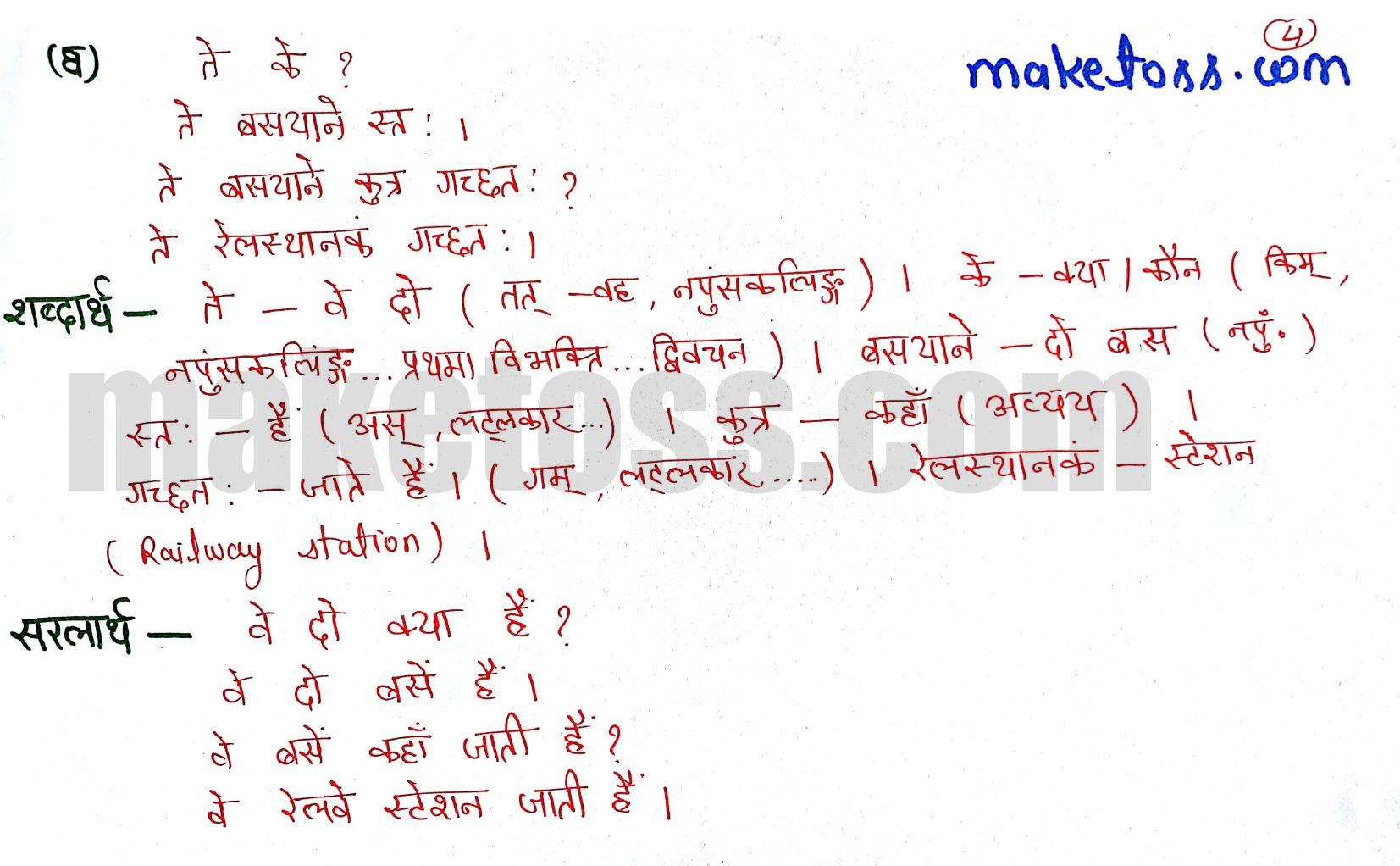 Class 6 Sanskrit chapter 3 - शब्दपरिचय 3 - Ncert solution + translation in Hindi