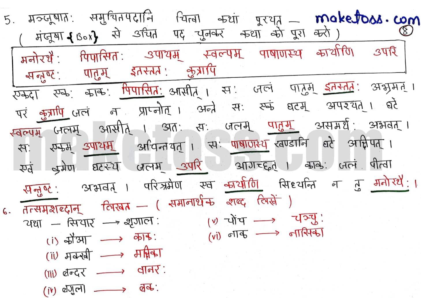 Sanskrit class 6 chapter 7 बकस्य प्रतिकार - Ncert solution