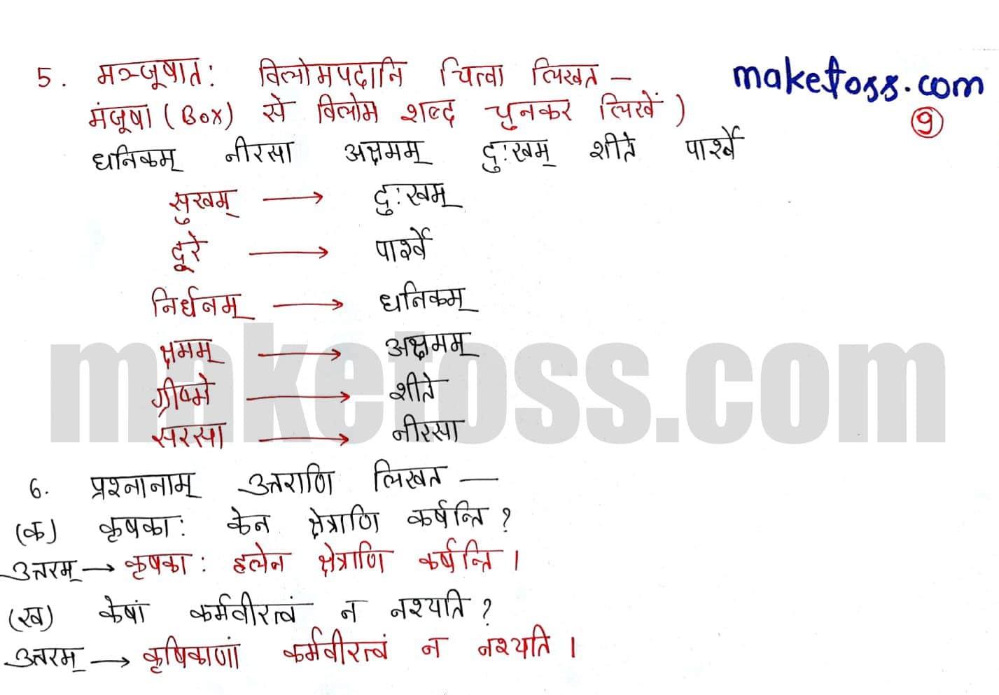 Sanskrit class 6 chapter 10 कृषिकाः कर्मवीरः- Ncert solution