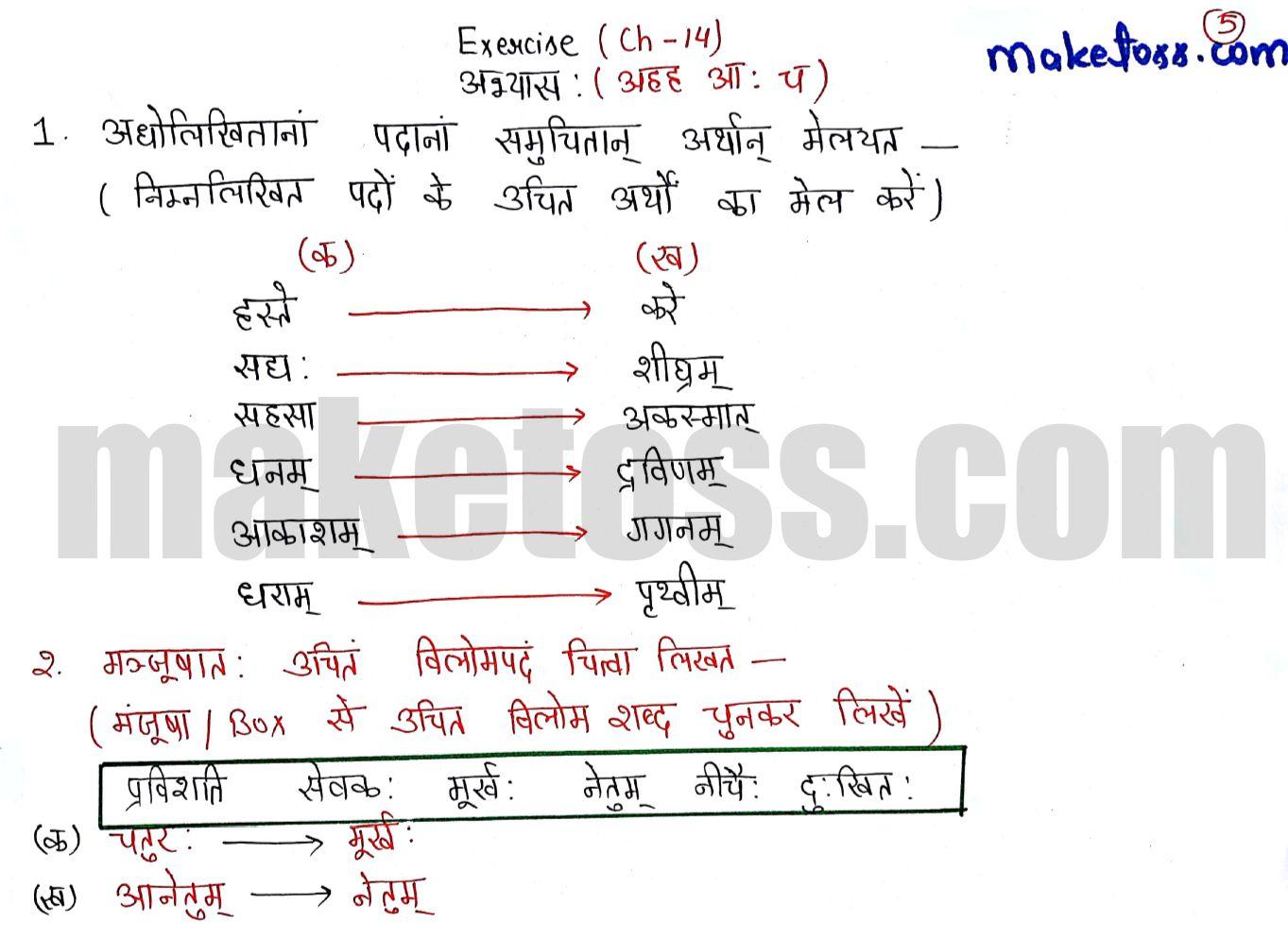 Sanskrit class 6 chapter 14 आहह आ: च ncert solution