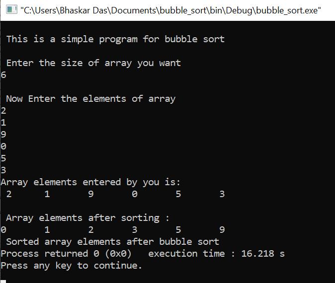 C program for bubble sort