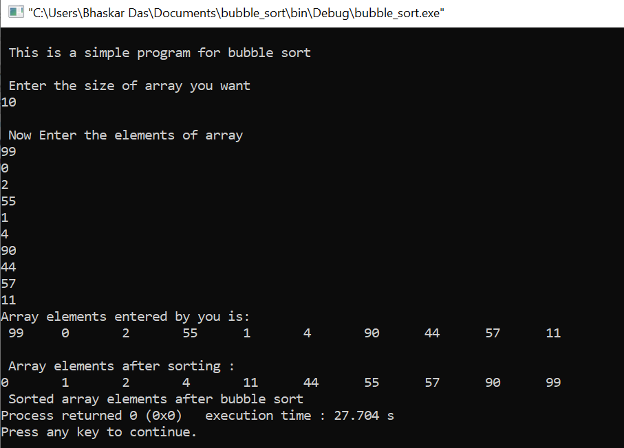 C program for bubble sort
