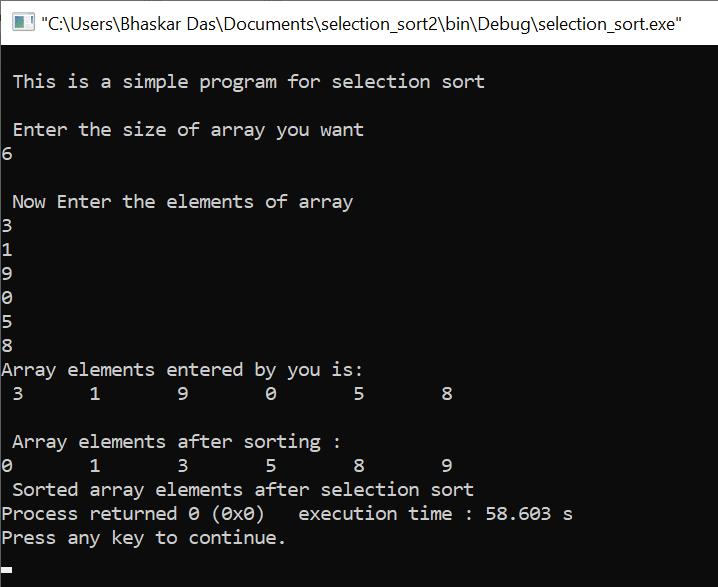 C program for selection sort