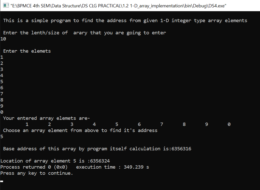 C program to find the location address from given 1-D integer type array elements