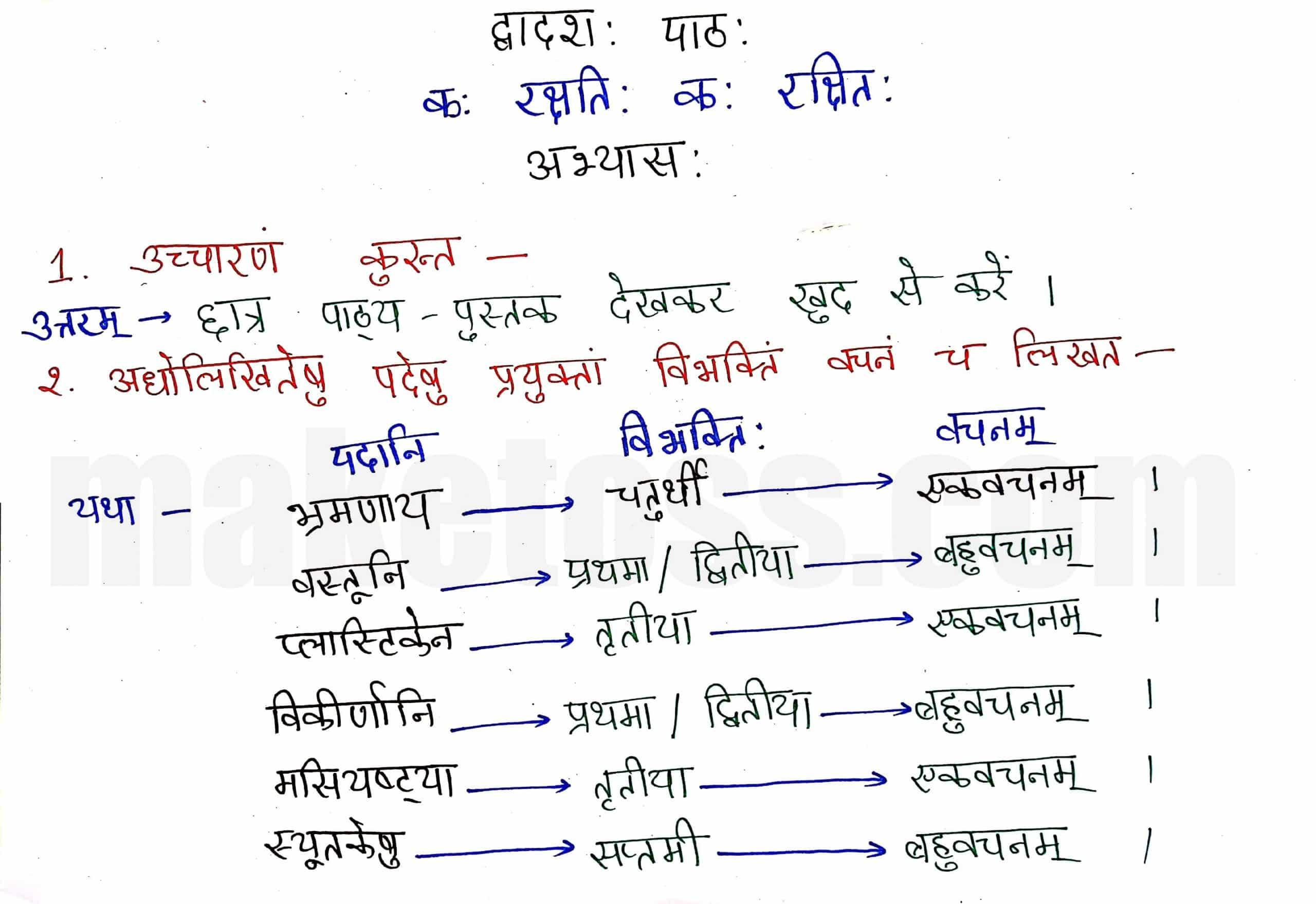 Sanskrit class 8 chapter 12-कः रक्षति कः रक्षित:-page 1-Hindi Translation + Exercise