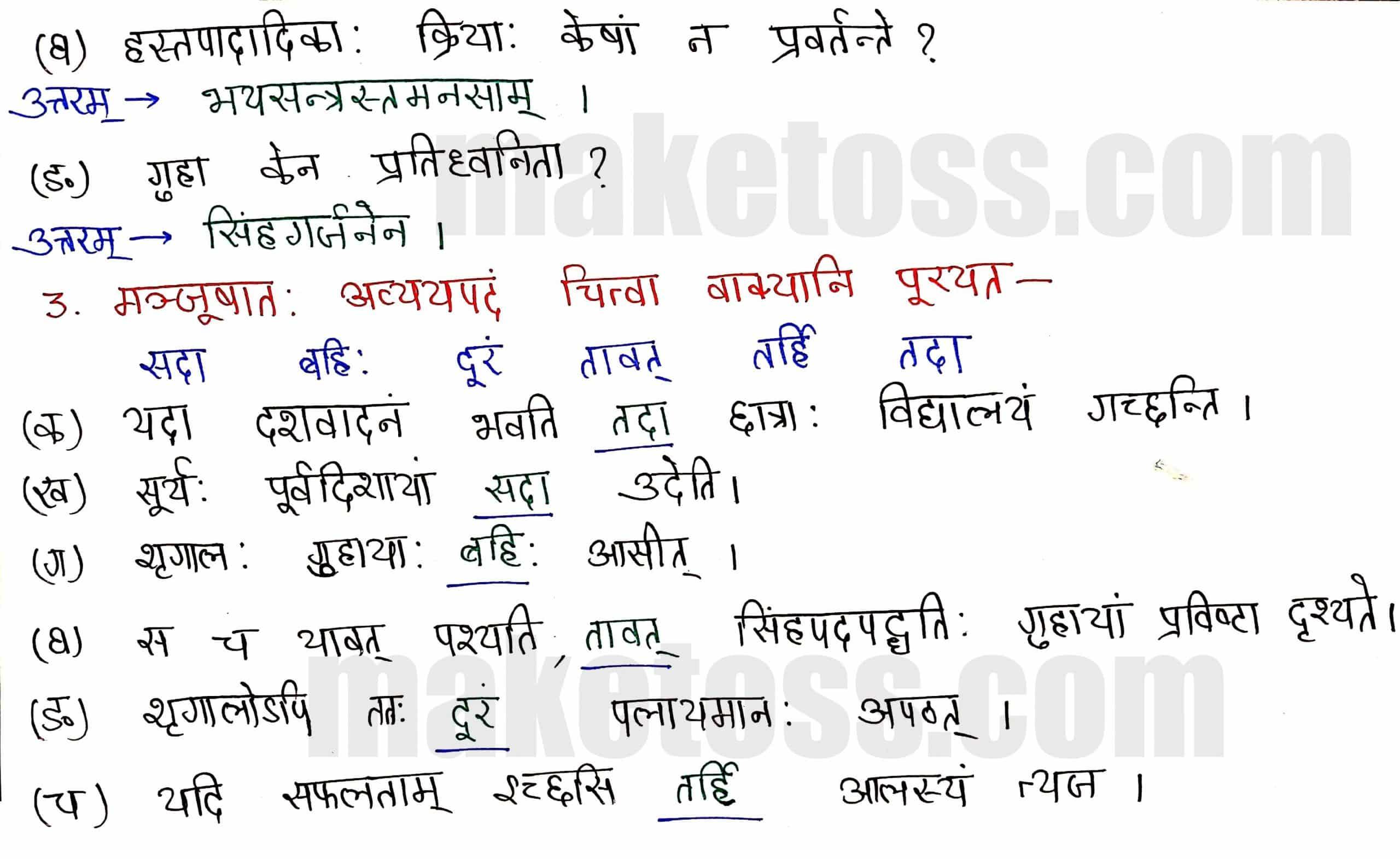Sanskrit Class 8-Chapter 2-बिलस्य वाणी न कदापि मे श्रुता - Exercise Q.3
