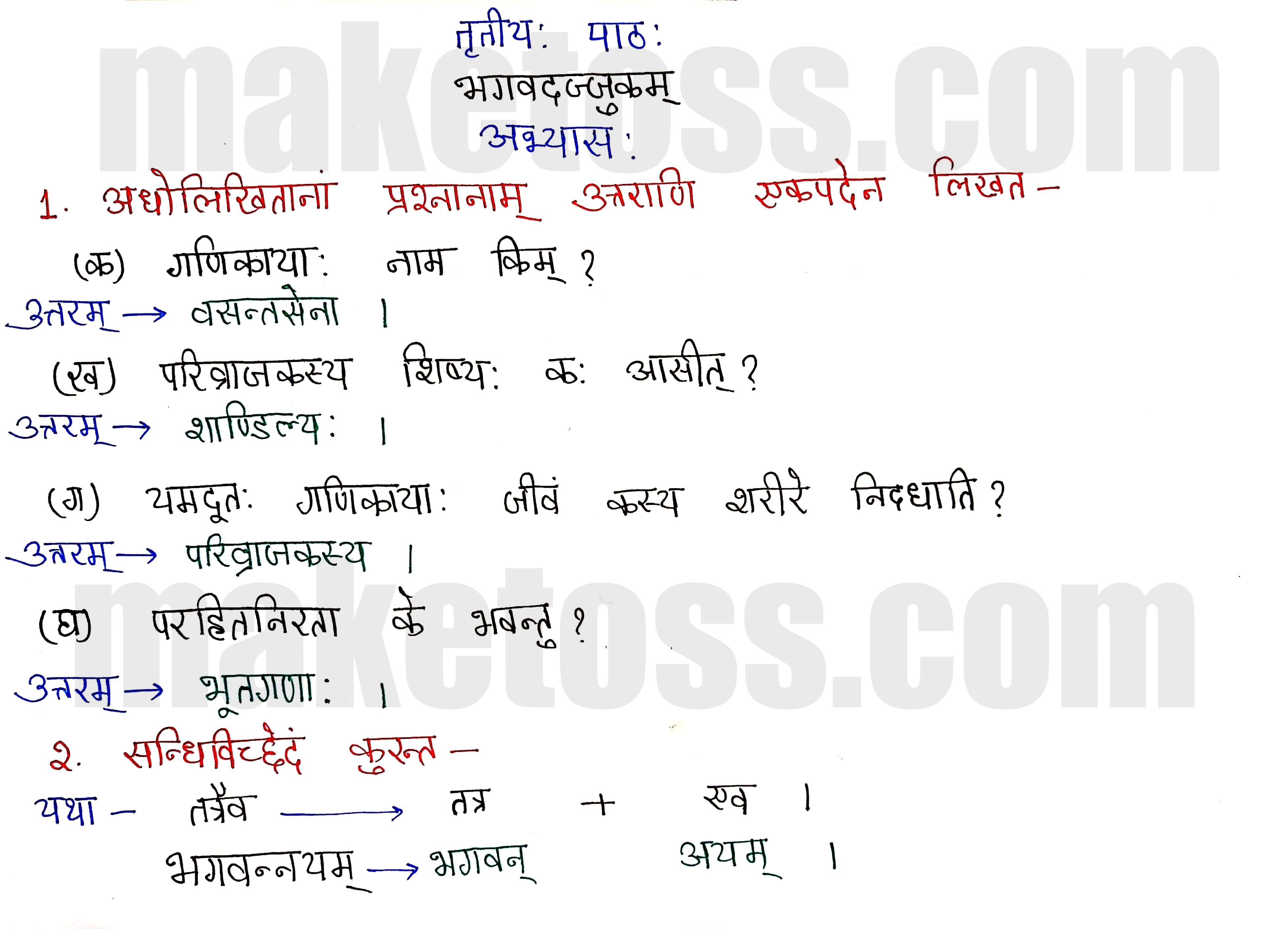 Sanskrit Class 8- Chapter 3-भगवदज्जुकम्- page 1
