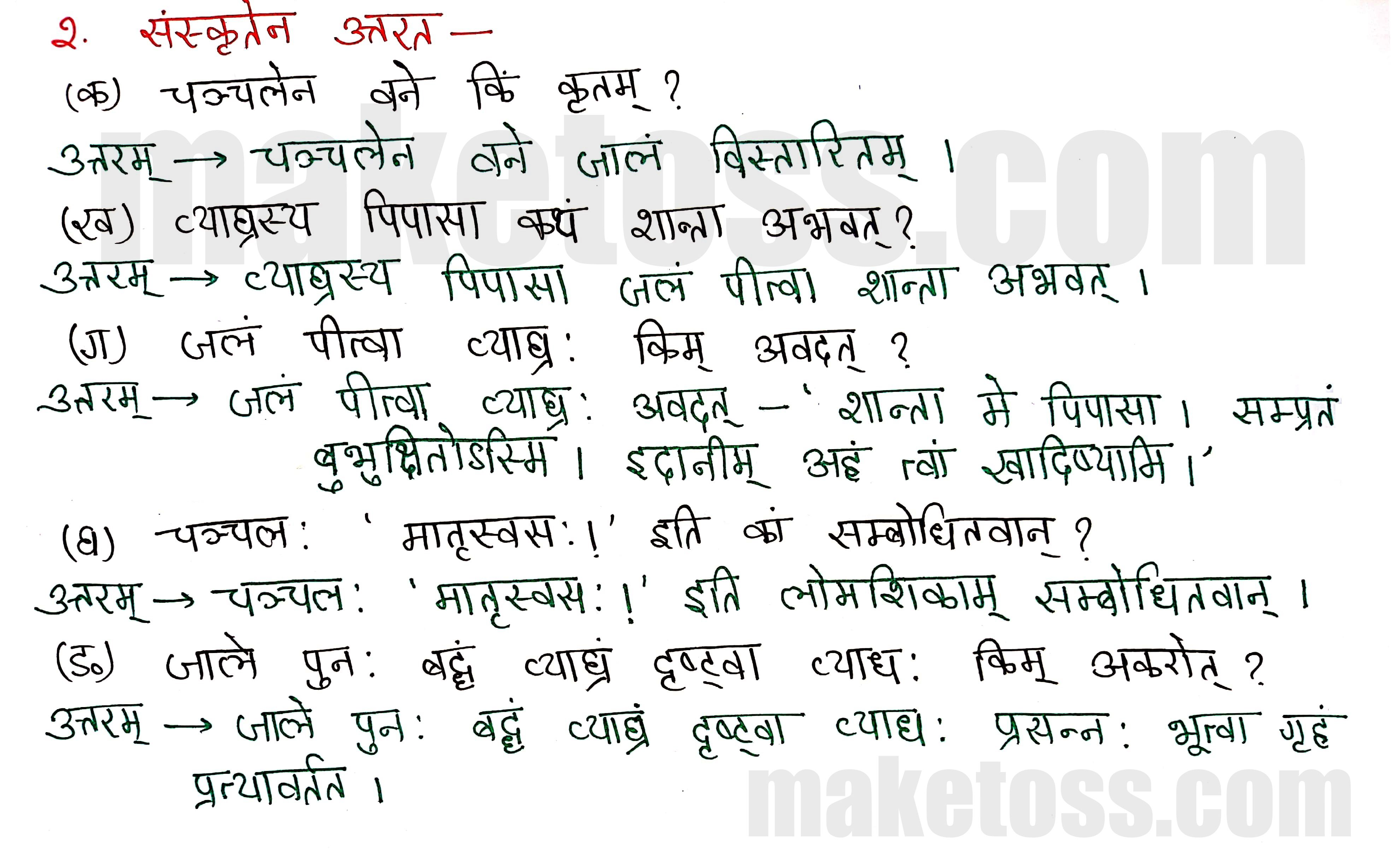 Sanskrit Class 8-chapter 5-धर्मे धमनं पापे पुण्यम् -page 2