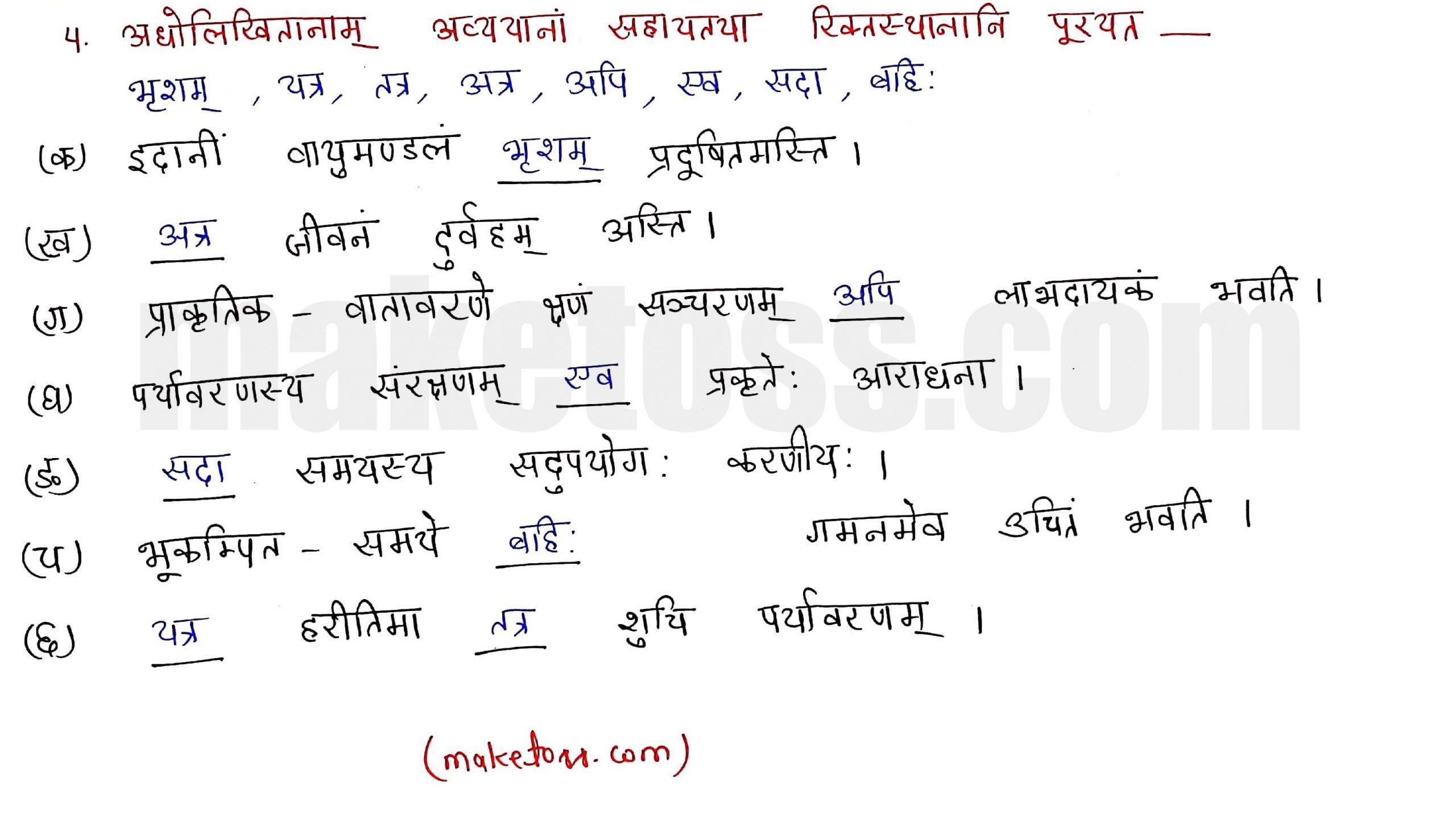Sanskrit class 10 chapter 1-शुचिपर्यावरणम् - Ncert Exercise Solution of Q-4