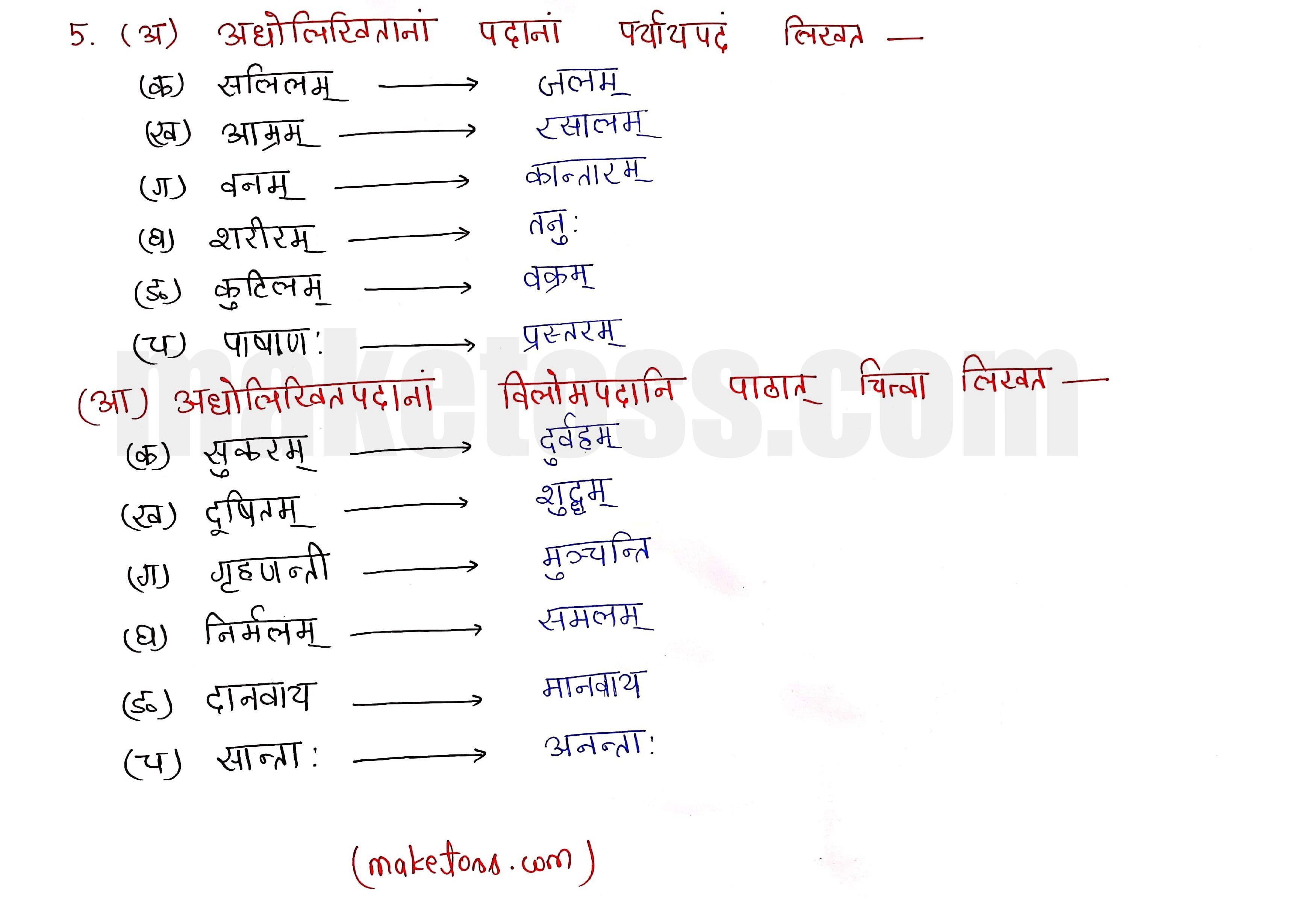Sanskrit class 10 chapter 1-शुचिपर्यावरणम् - Ncert Exercise Solution of Q-5