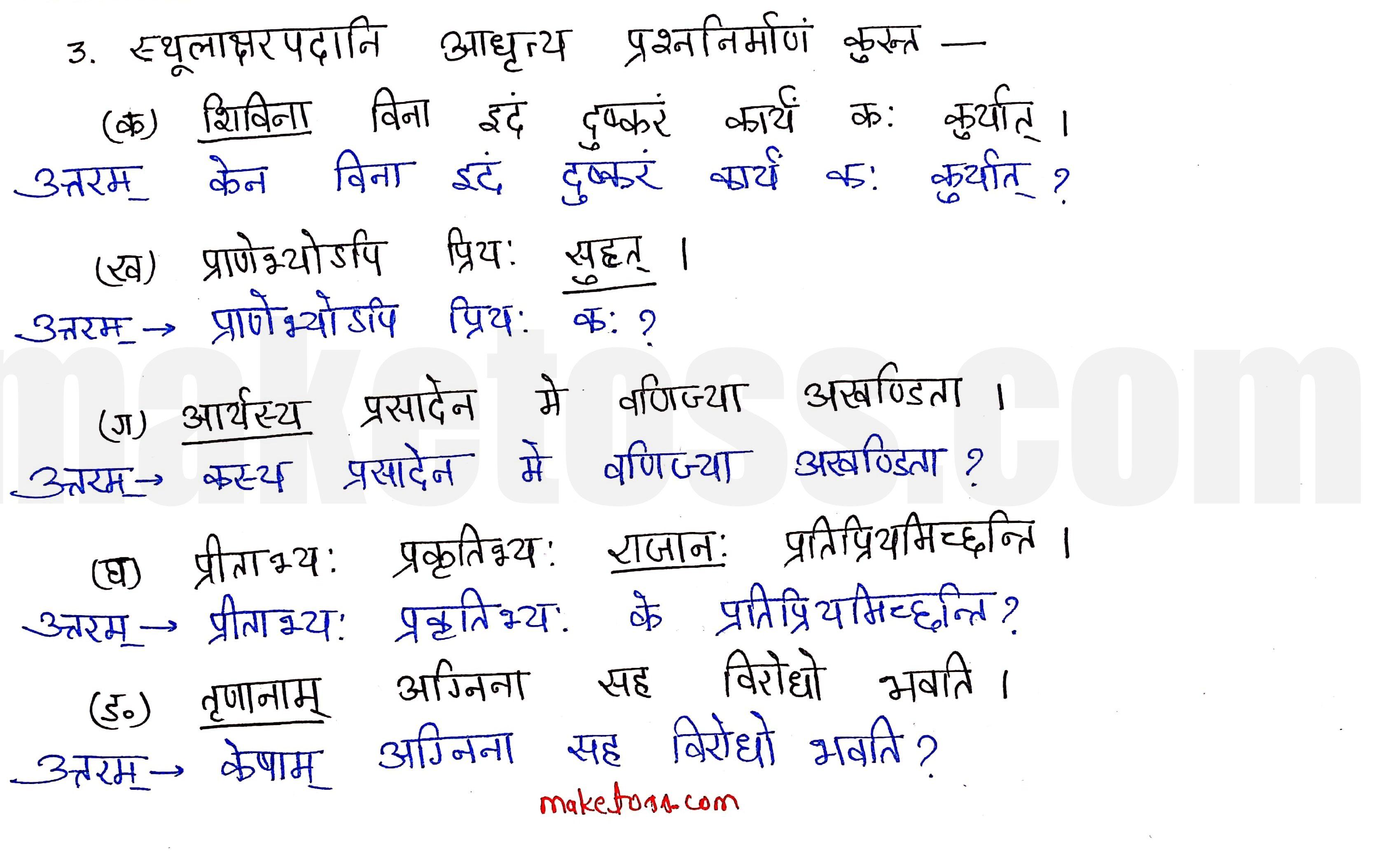 sanskrit class 10 chapter 11 Q.3