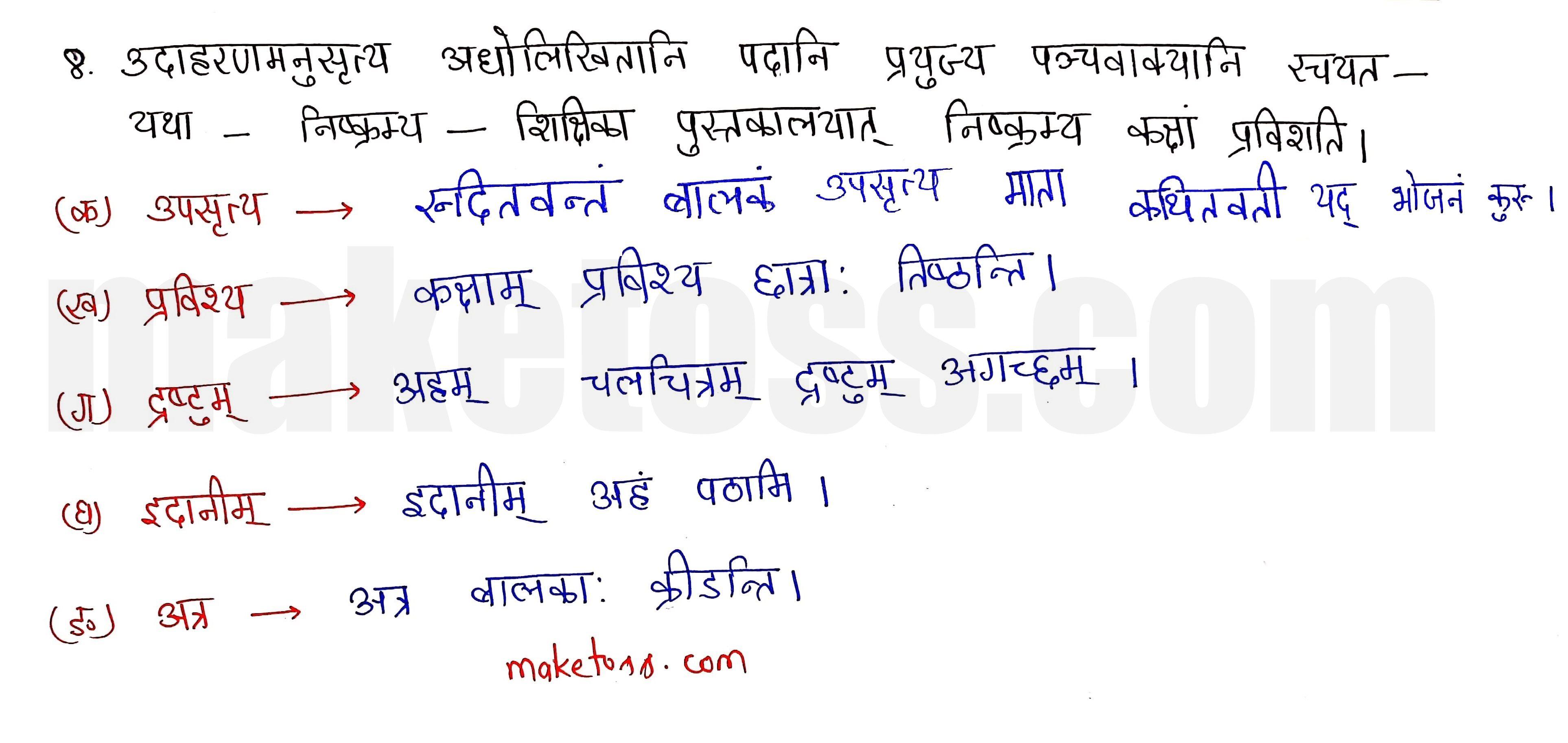sanskrit class 10 chapter 11 Q.8