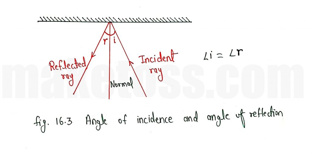 Law of reflection - The angle of incidence is equal to the angle of reflection