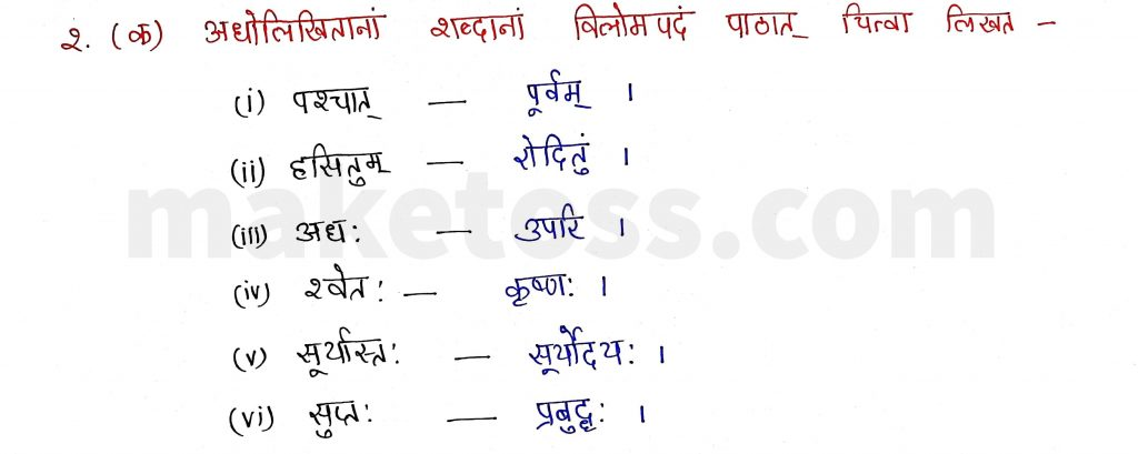 Sanskrit Class 9- Chapter 2- स्वर्णकाकः - Question 2.(क) with Answer