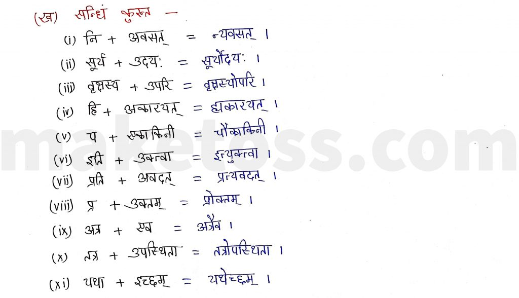 Sanskrit Class 9- Chapter 1- स्वर्णकाकः - Question 2.(ख) with Answer