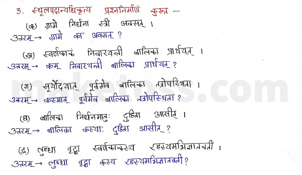 Sanskrit Class 9- Chapter 2- स्वर्णकाकः - Question 3 with Answer