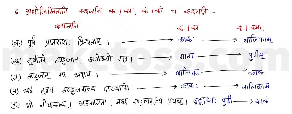 Sanskrit Class 9- Chapter 2- स्वर्णकाकः - Question 6 with Answer
