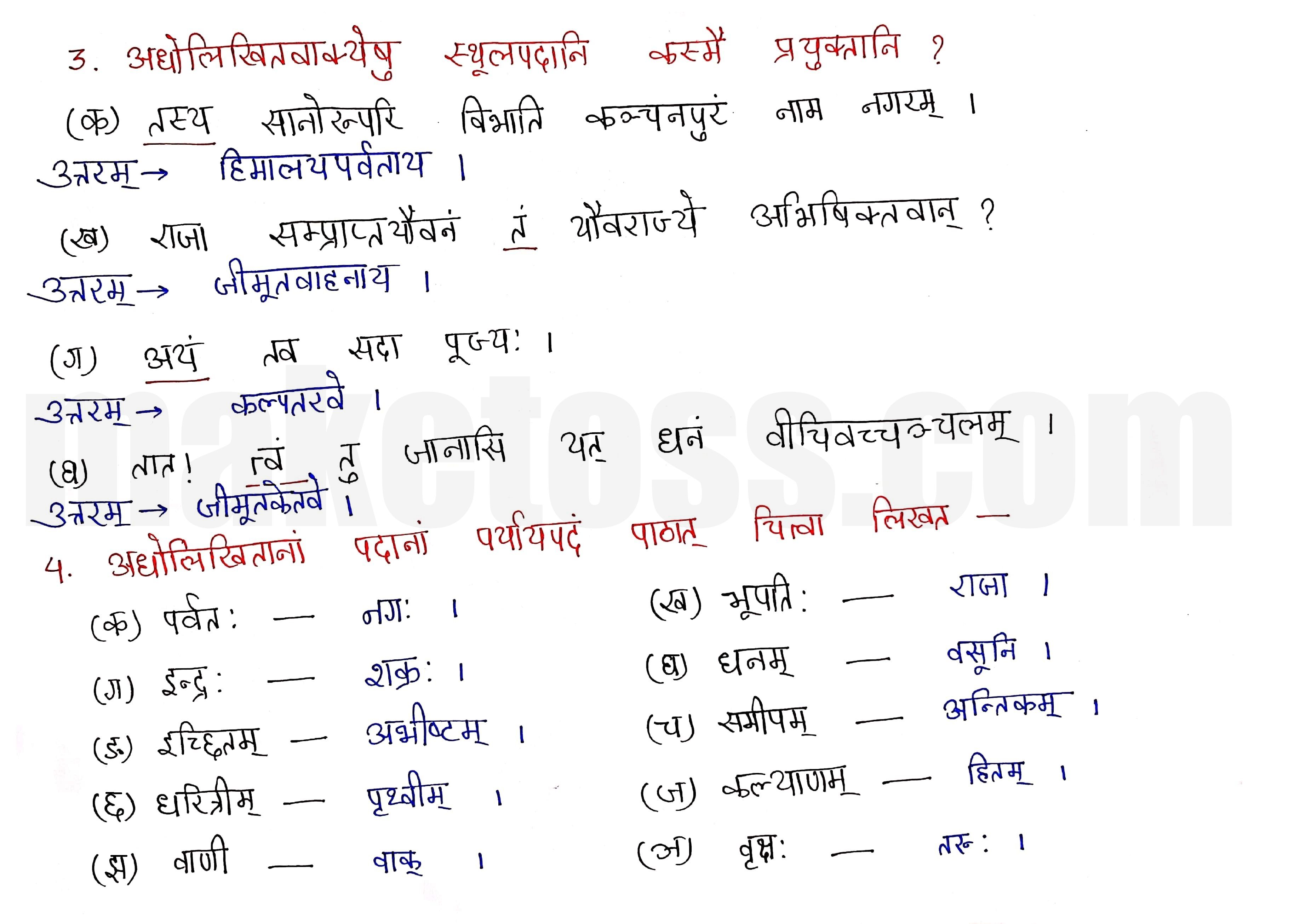 Sanskrit Class 9- Chapter 4- कल्पतरूः - Question 3 and 4 with Answer