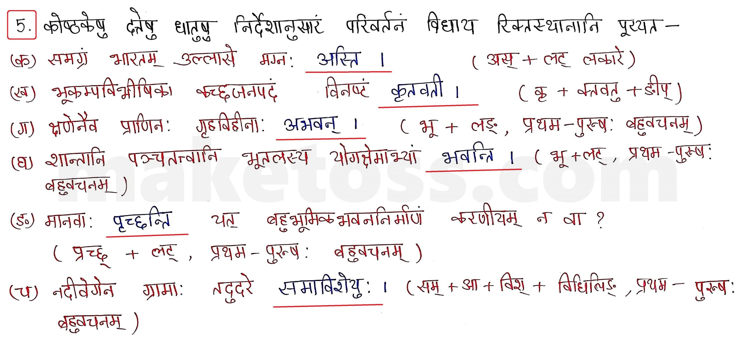 Sanskrit Class 10 - Chapter 10 - भूकंपविभीषिका Question 5 with Answer