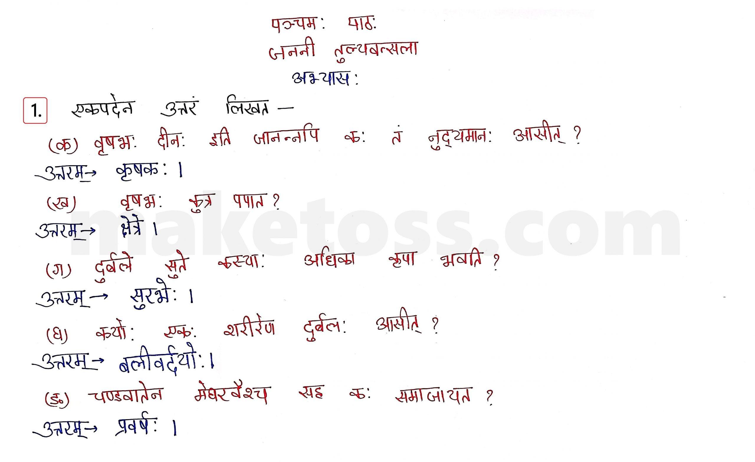 Sanskrit Class 10 - Chapter 5 - जननी तुल्यवत्सला  - Question 1 with Answer