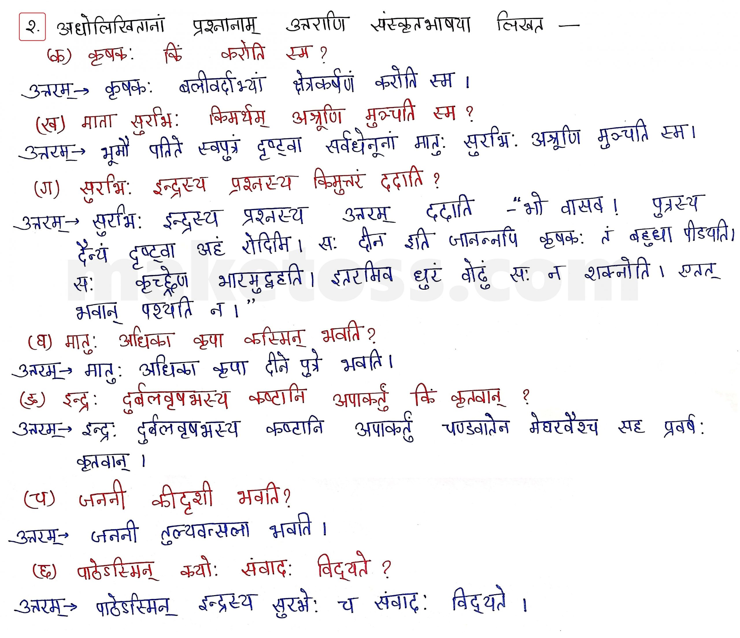 Sanskrit Class 10 - Chapter 5 - जननी तुल्यवत्सला  - Question 2 with Answer