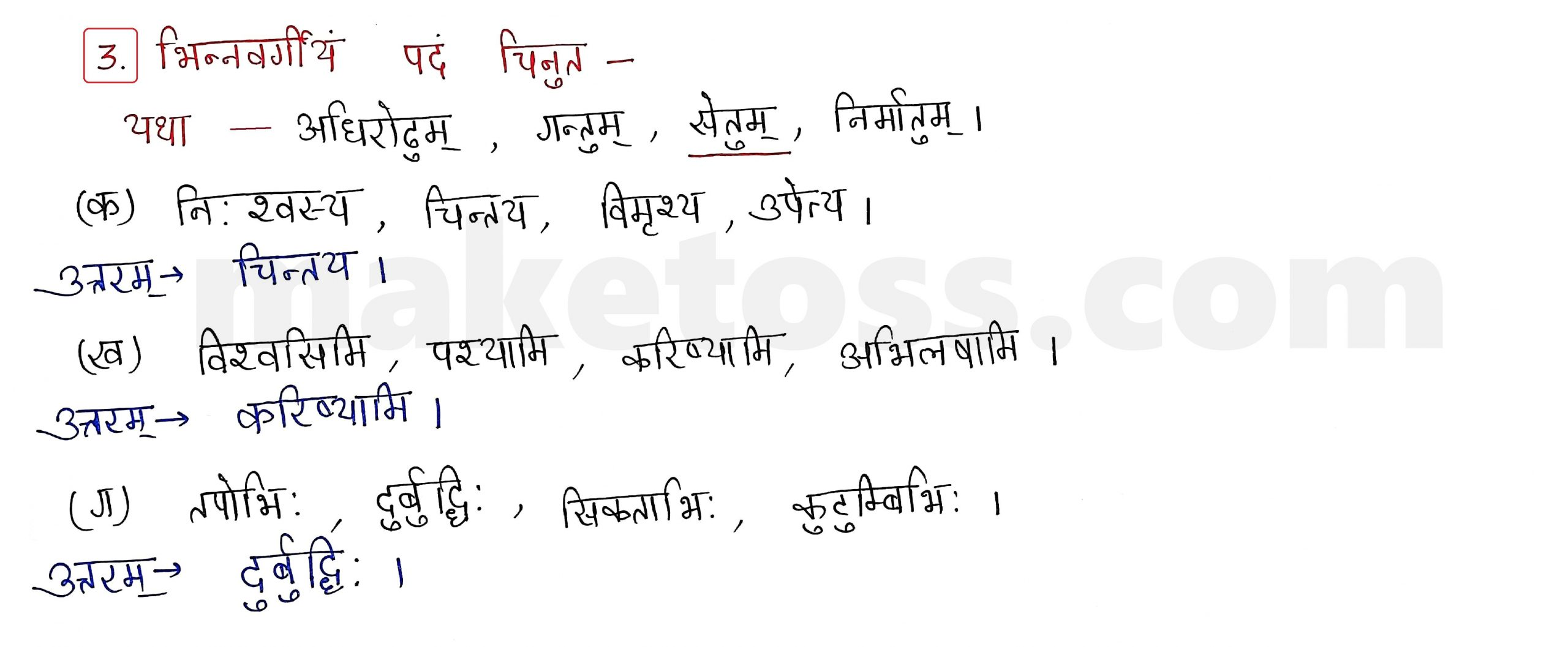 Sanskrit Class 9 - Chapter 9 - सिकतासेतुः  - Question 3 with Answer