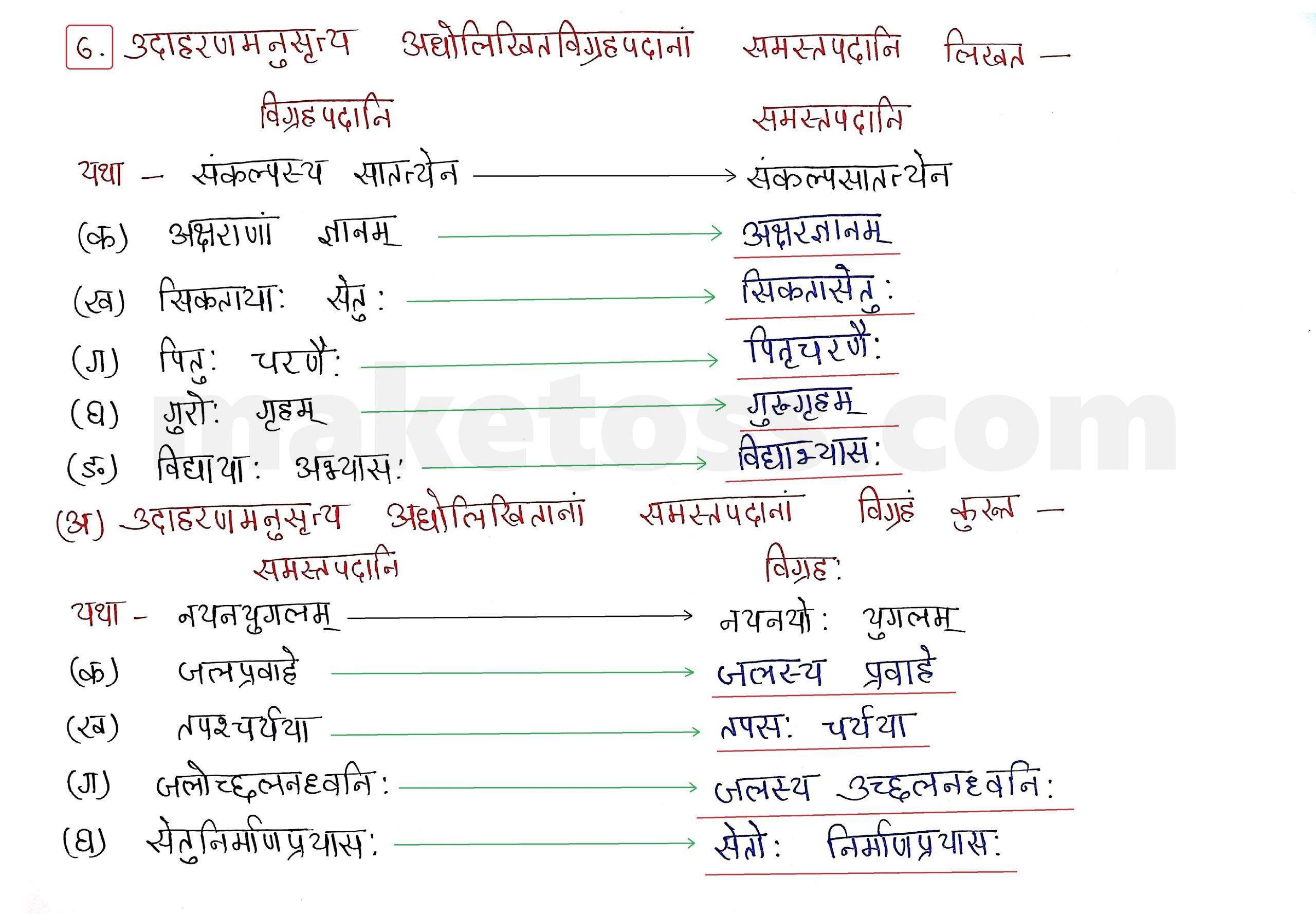 Sanskrit Class 9 - Chapter 9 - सिकतासेतुः  - Question 6 with Answer