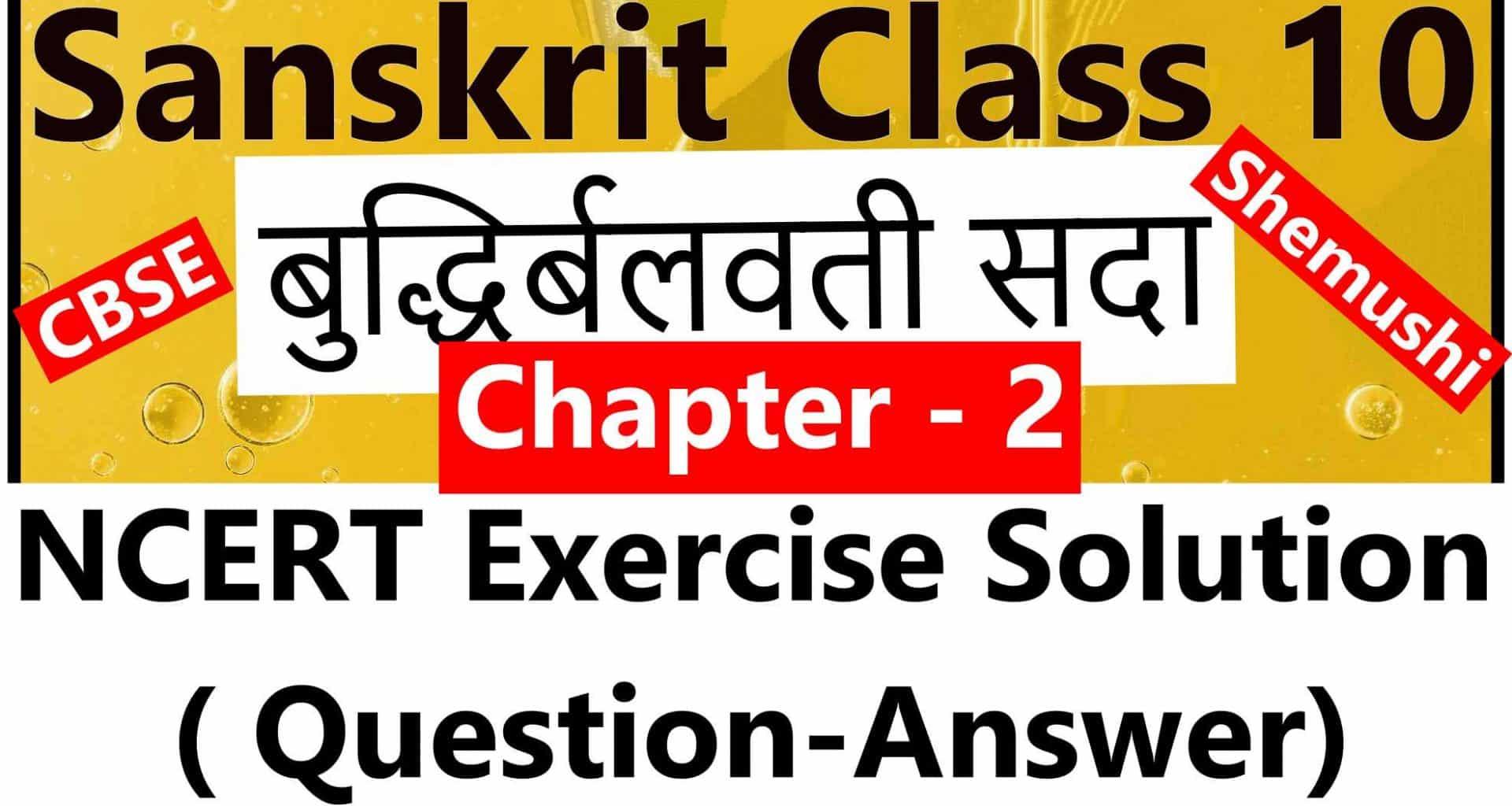 Sanskrit Class 10 - Chapter 2 - बुद्धिर्बलवती सदा - NCERT Exercise Solution (Question-Answer)