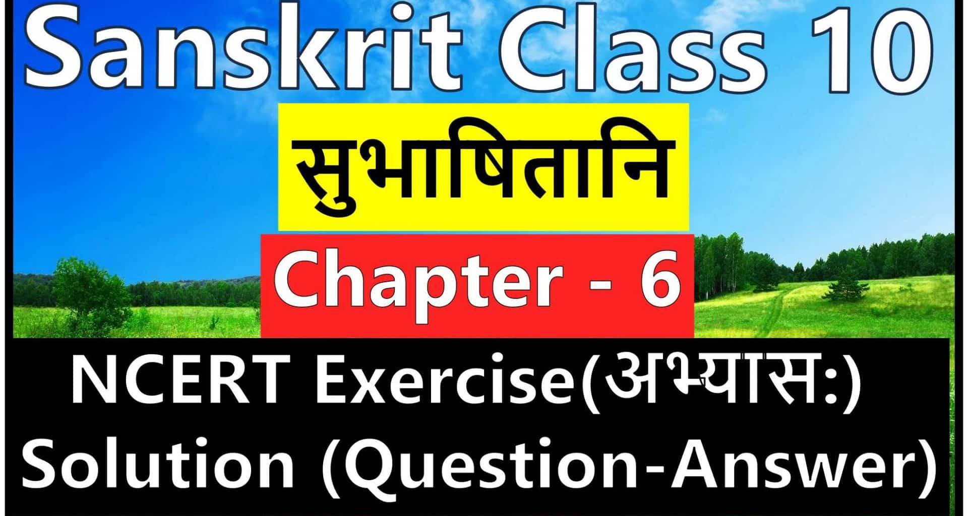 Sanskrit Class 10 - Chapter 6 - सुभाषितानि- NCERT Exercise Solution (Question-Answer)