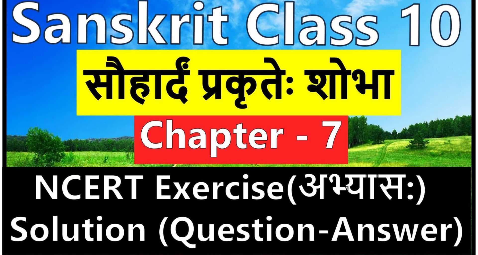Sanskrit Class 10 - Chapter 7 - सौहार्दं प्रकृतेः शोभा - NCERT Exercise Solution (Question-Answer)