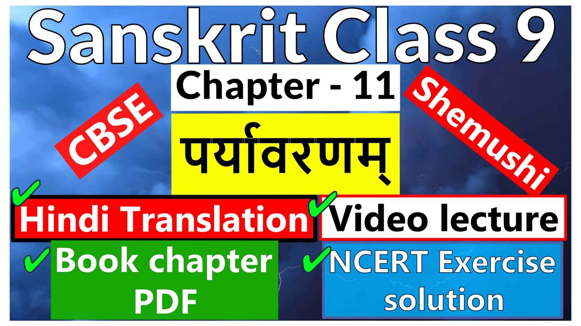 Sanskrit Class 9-Chapter 11 पर्यावरणम् - Hindi Translation, Video lecture, NCERT Exercise solution (Question-Answer), Book chapter PDF