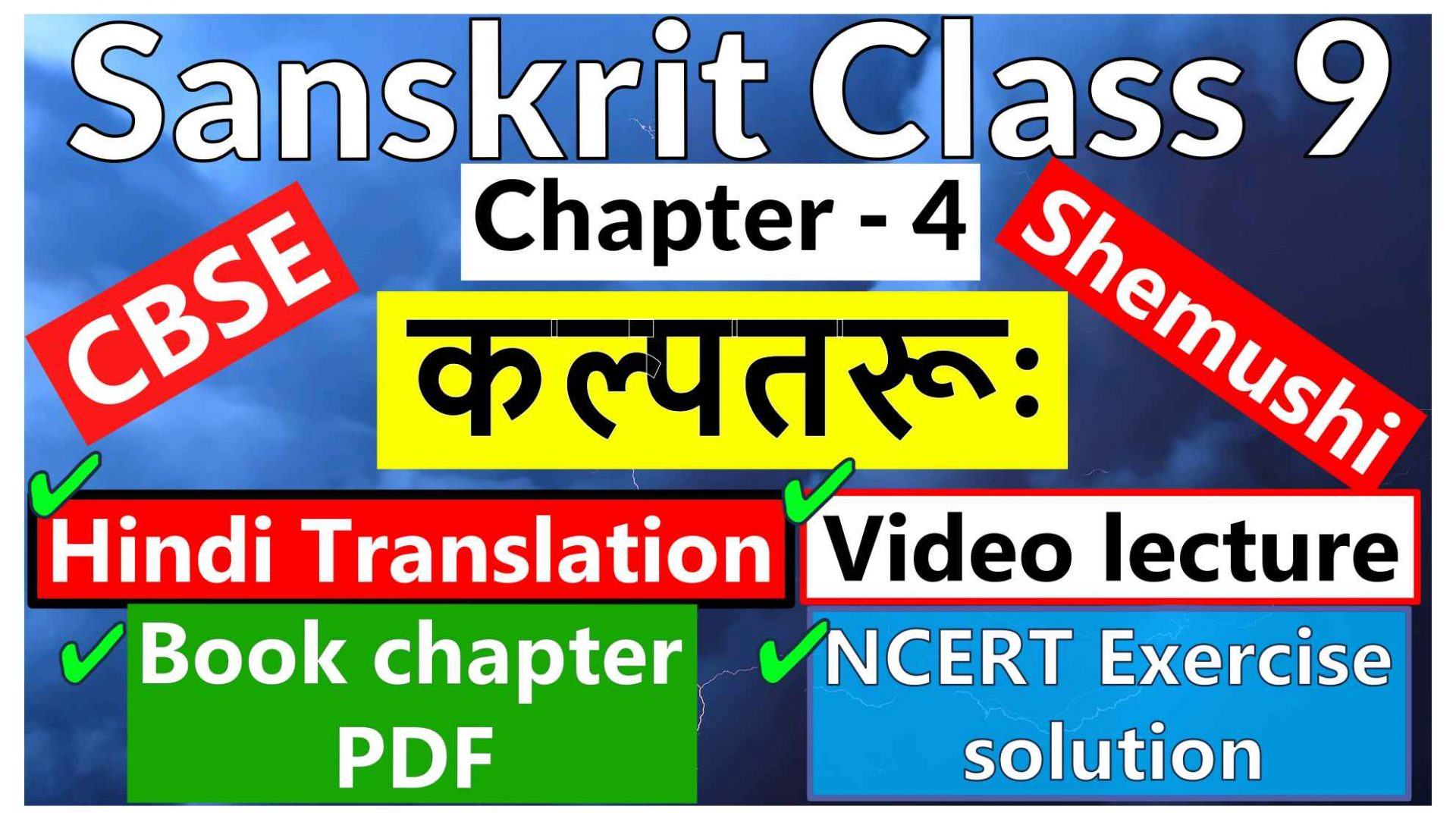 Sanskrit Class 9- Chapter 4 -कल्पतरूः- Hindi Translation, Video lecture, NCERT Exercise solution (Question-Answer), Book chapter PDF
