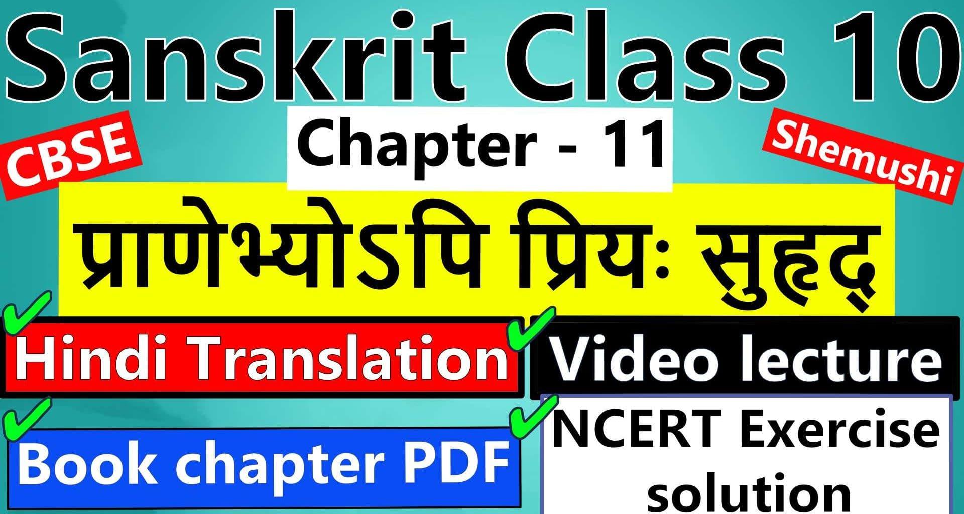 sanskrit-class-10-chapter-11-प्राणेभ्योऽपि-प्रियः-सुहृद्-Hindi-Translation-Video-lecture-NCERT-Exercise-Solution-Question-Answer-Book-chapter-PDF