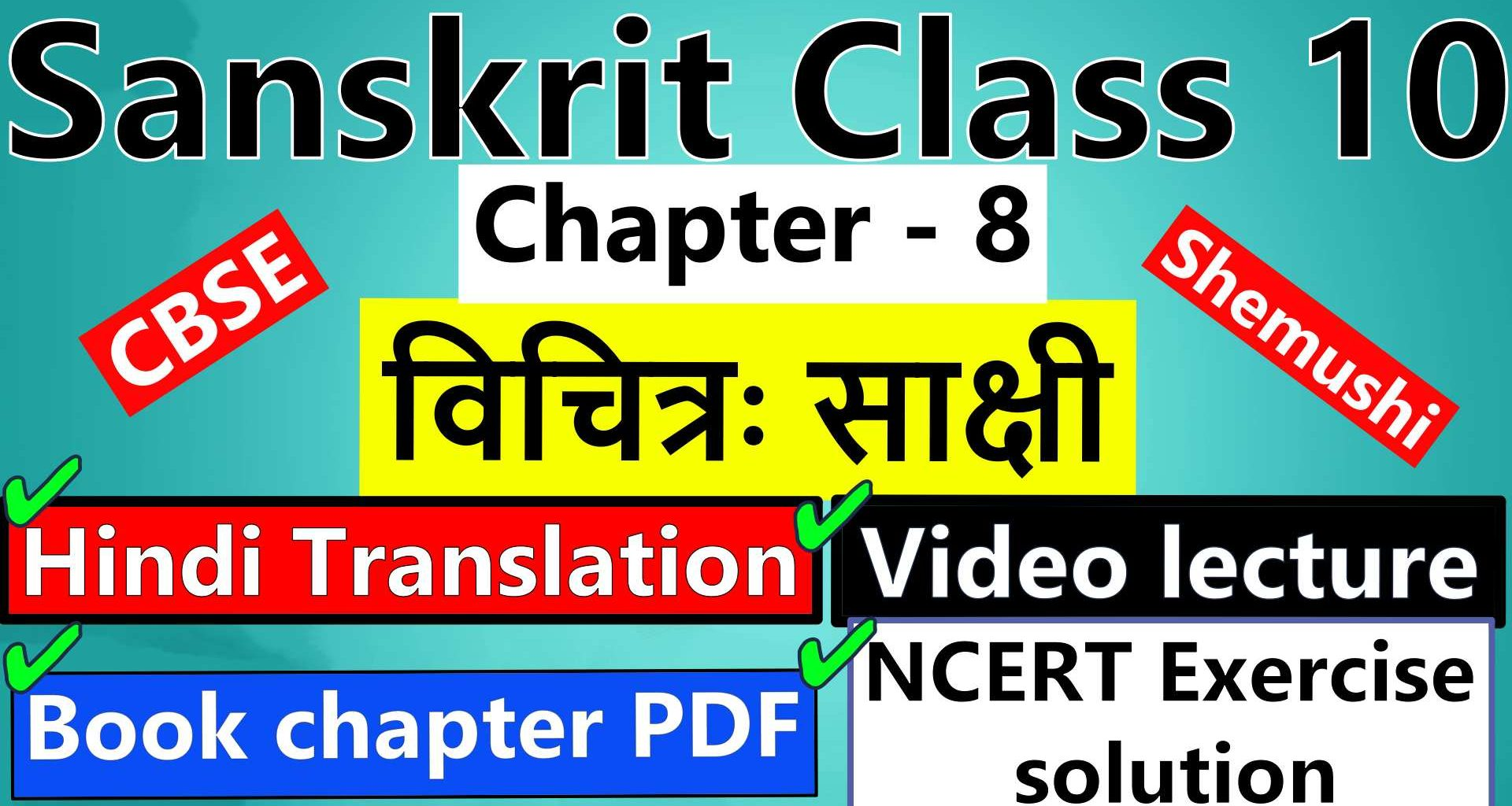 sanskrit-class-10-chapter-8-विचित्रः-साक्षी-Hindi-Translation-Video-lecture-NCERT-Exercise-Solution-Question-Answer-Book-chapter-PDF